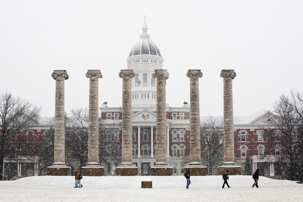 Picture of Francis Quadrangle, Jesse Hall in feb snowstorm
