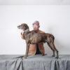 man showing dog