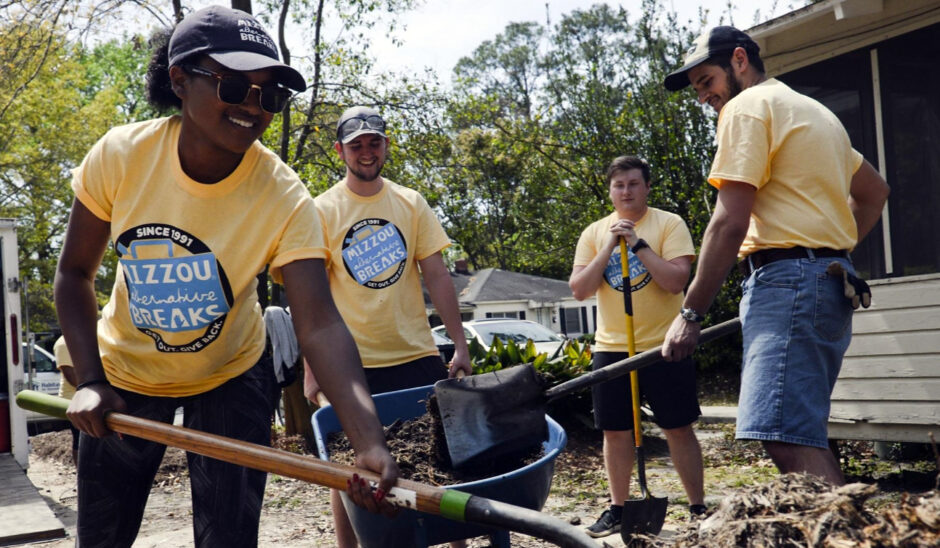 Mizzou students are pictured serving with Coastal Empire Habitat for Humanity in Savannah Georgia.