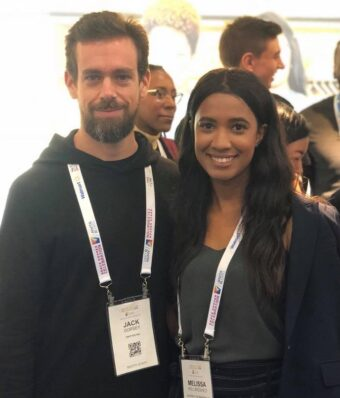 This is a picture of Twitter CEO Jack Dorsey with Melissa Hollingshed