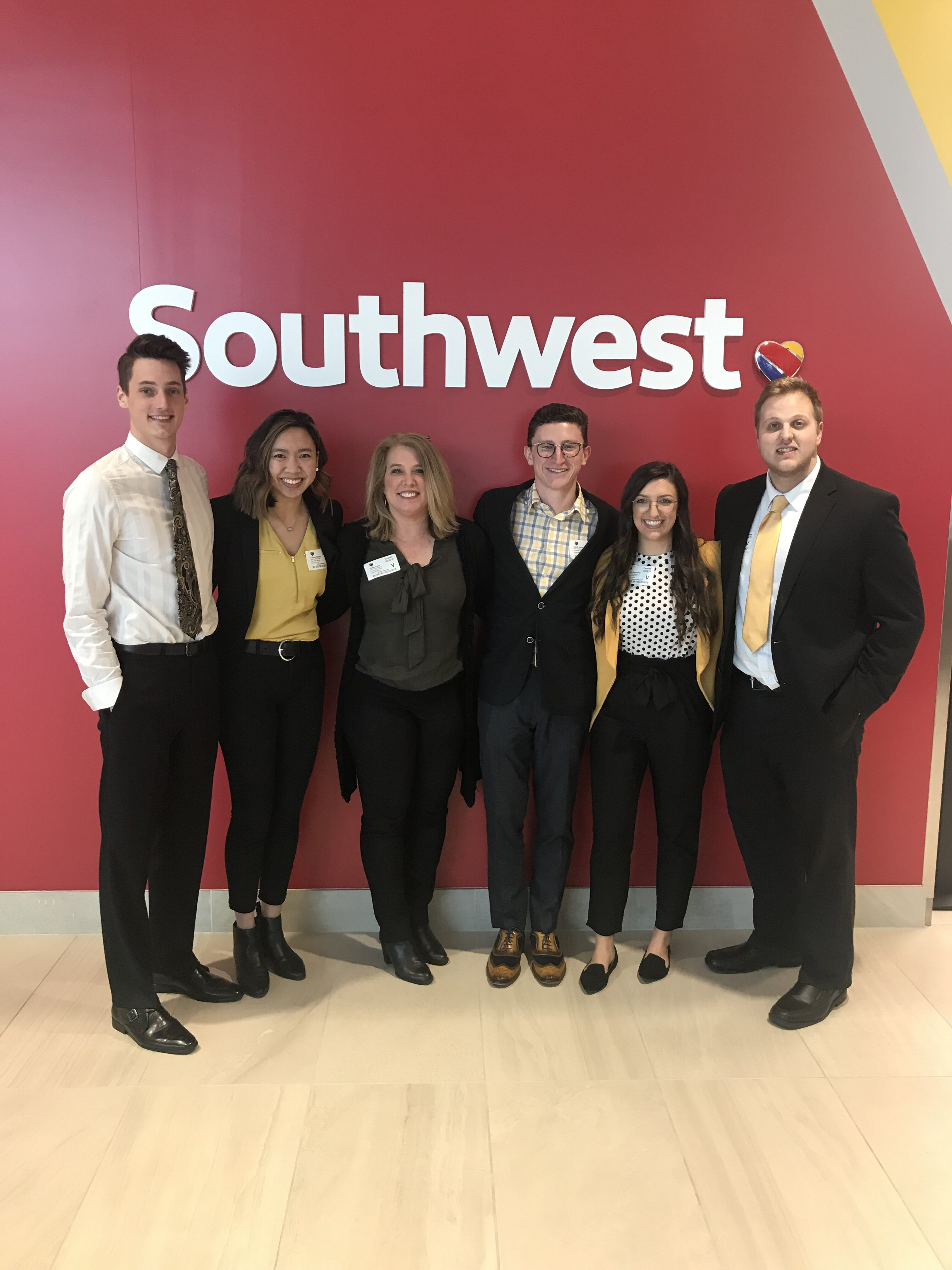 This is a picture of the five Mizzou students who presented the YAYA report to Southwest Airlines.