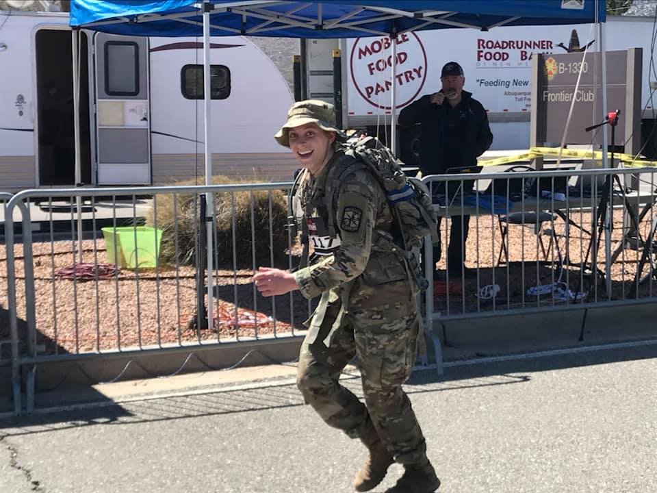 Kimberly Woods begins her 26.2-mile trek at the White Sands Missile Range. Woods is a senior in the College of Engineering working on a major in mechanical engineering.
