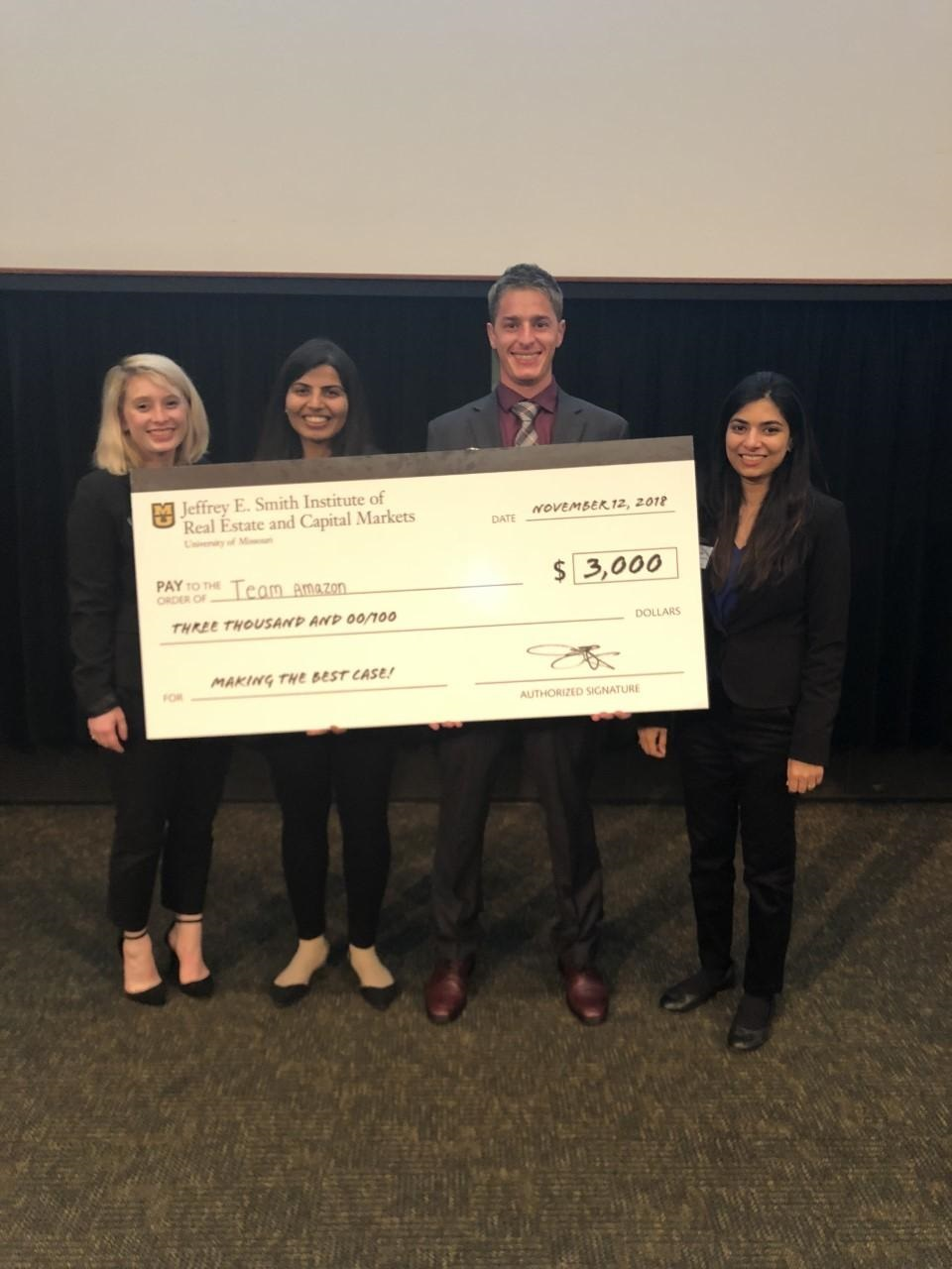 Bhagchandani and her team of fellow MBA students competed in the Trends in Real Estate and Capital Markets Forum student competition at MU. The group won first place and received a prize of $3,000.