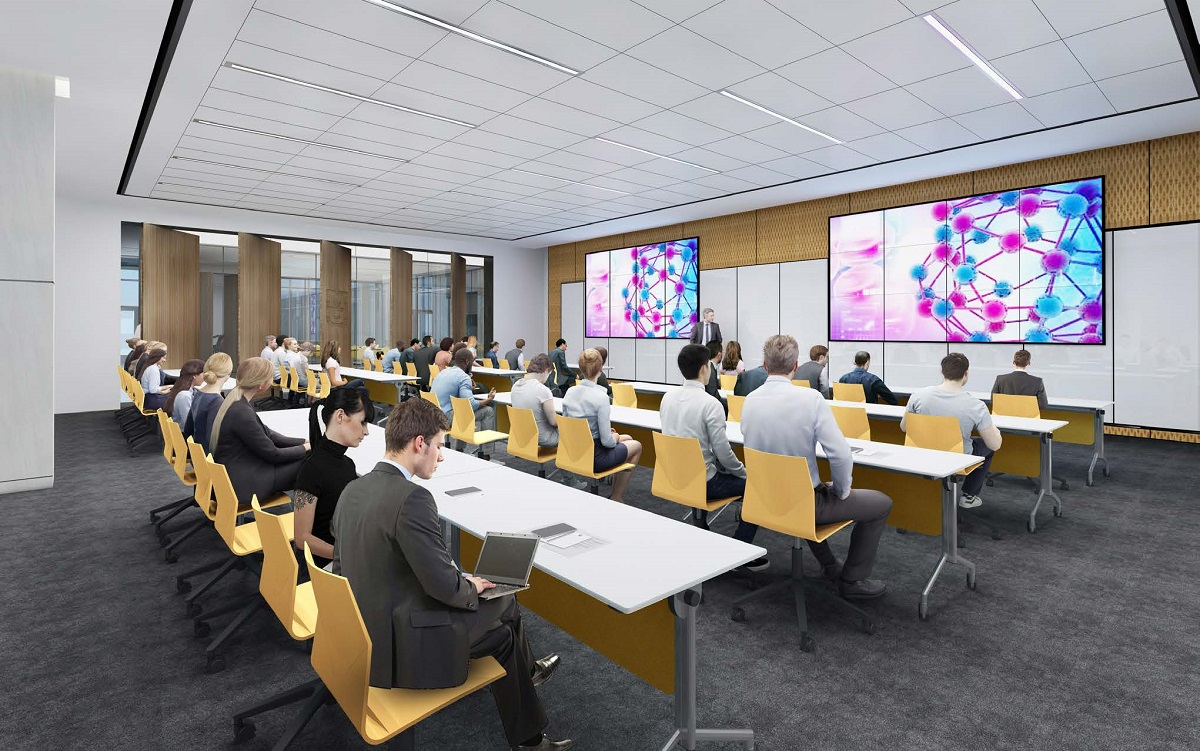 Artistic rendering of people using a shared collaboration workspace in the new building
