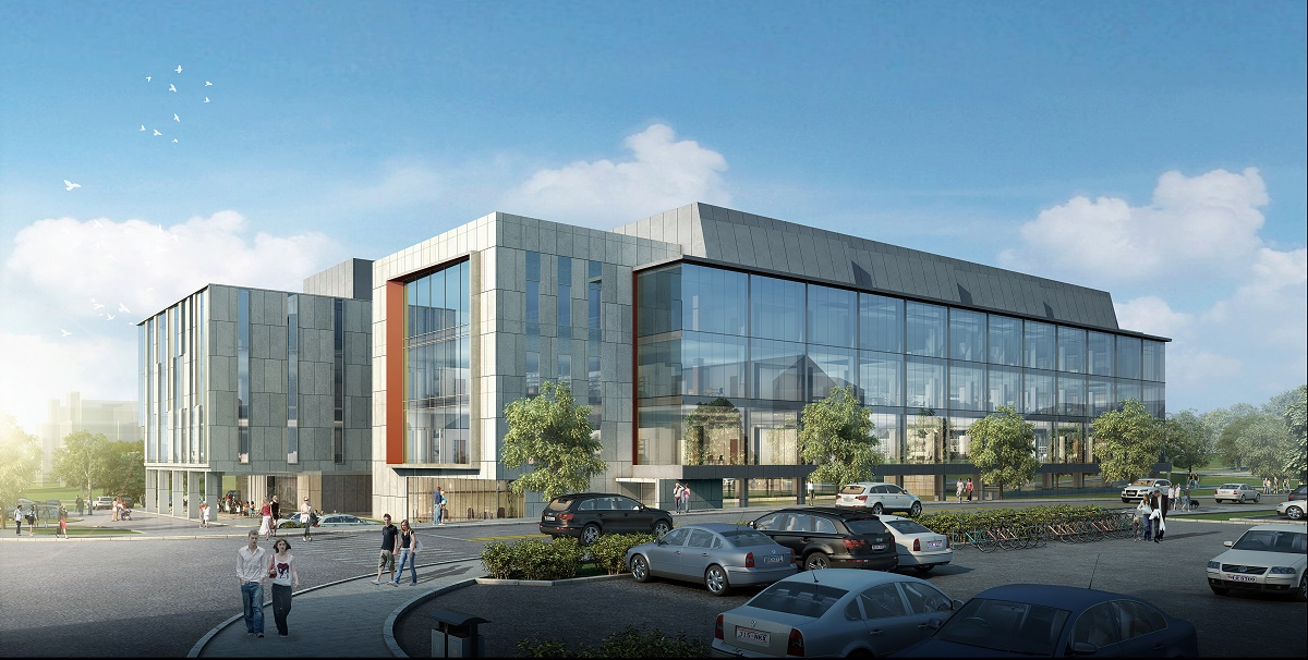 Artistic rendering of The $220 million, 265,000-square-foot, five story building will provide space for 60 researchers and their teams. The building is expected to be complete in October 2021.