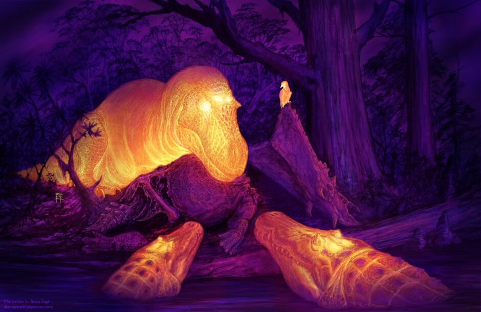 A graphic thermal image of a T. rex in a stand off with two giant crocodiles. The dorsotemporal fenestra on the T. rex is glowing.Illustration courtesy of Brian Engh.