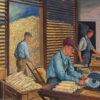 men working with corn cobs