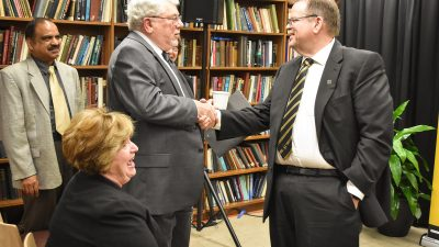 MU Chancellor Alexander N. Cartwright thanks Ronald J. Boain after Boain announced his $1.28 million to the Department of Physics and Astronomy in the College of Arts and Science.