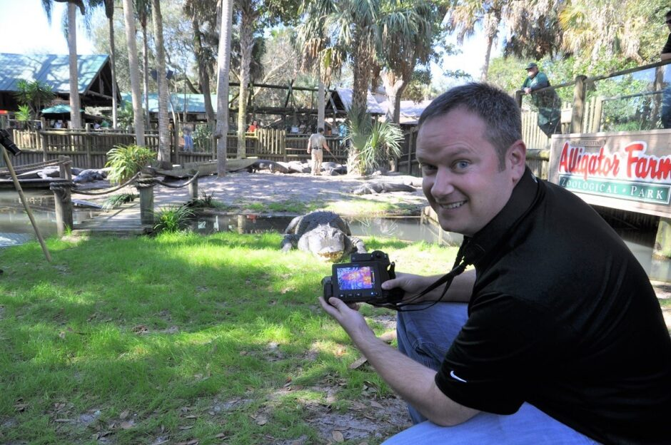 Kirk Wegener takes thermal images of an alligator at the St. Augustine Alligator Farm Zoological Park in Florida. The visit allowed the researchers the opportunity to examine alligators up close and personal.