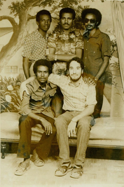 This is a picture of Motavalli in 1979, with four undergraduates students while studying at the University of Khartoum in Sudan.
