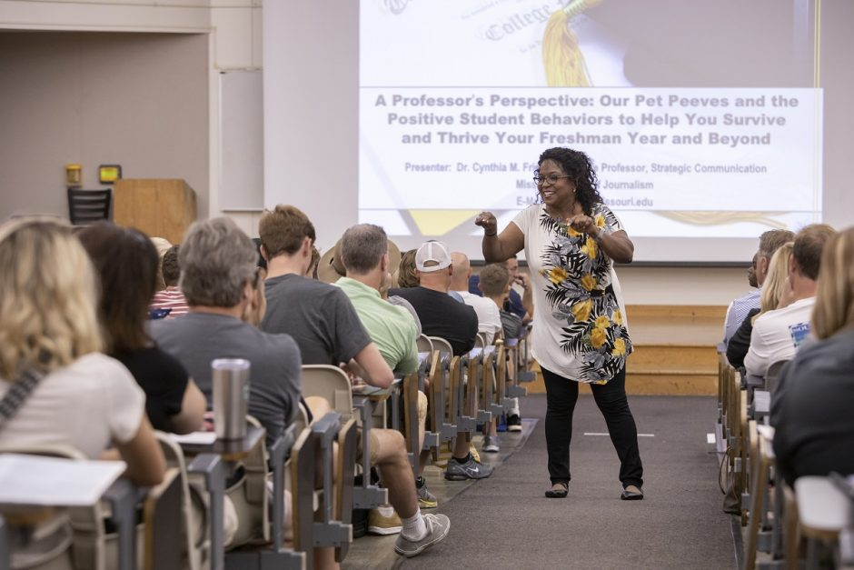 Cynthia Frisby, professor of journalism, speaks to incoming students during Summer Welcome, one of the programs at Mizzou to help new students. MU leaders credit supports for transfer students as a key to the 16 percent increase in transfer enrollment.