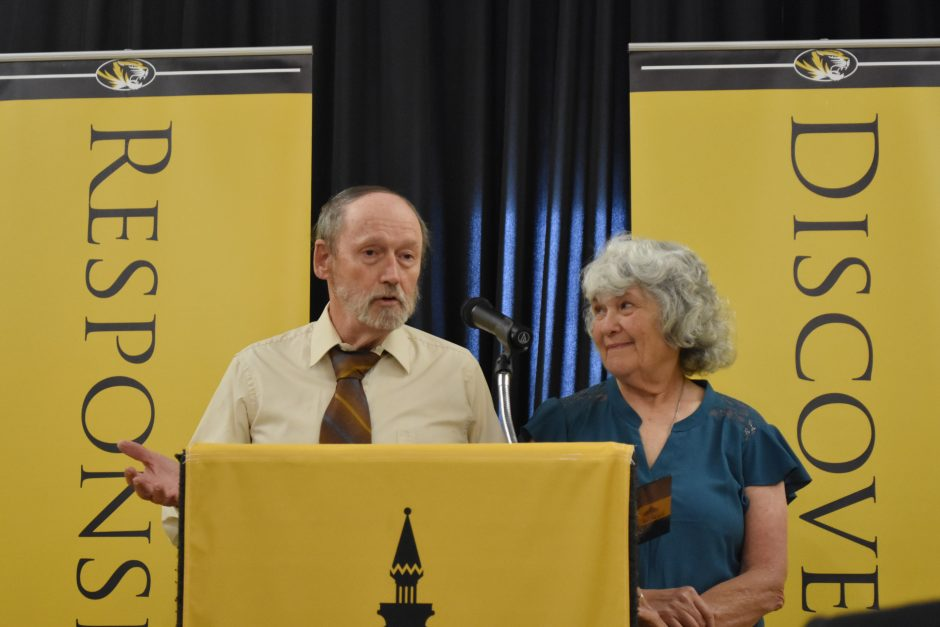 Picture of Ken Donohew and Ellen Kippel during the gift announcement.