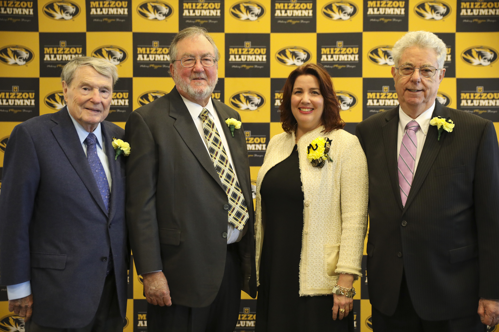 Jim Lehrer, Andy Bryant and the Komen family attended a luncheon honoring the induction of Lehrer, Bryant and Susan G. Komen into the Mizzou Alumni Association's Homecoming Hall of Fame.