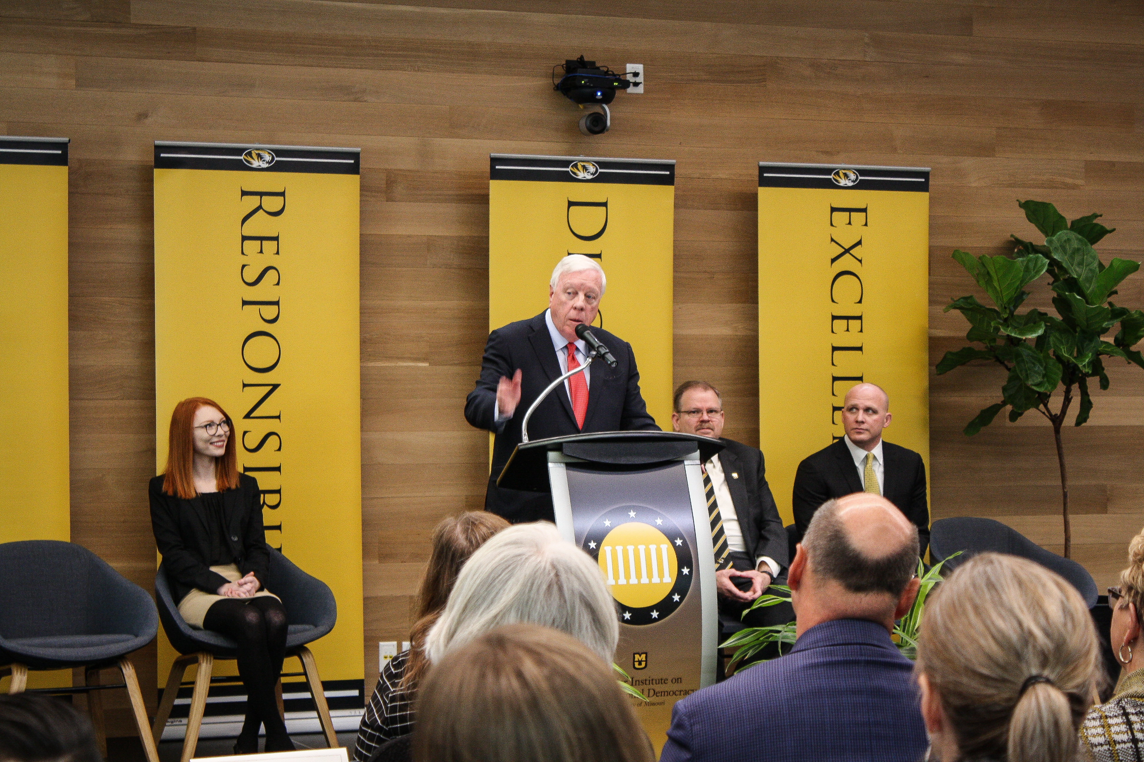 This is a picture of Rich Kinder speaking during the press conference.