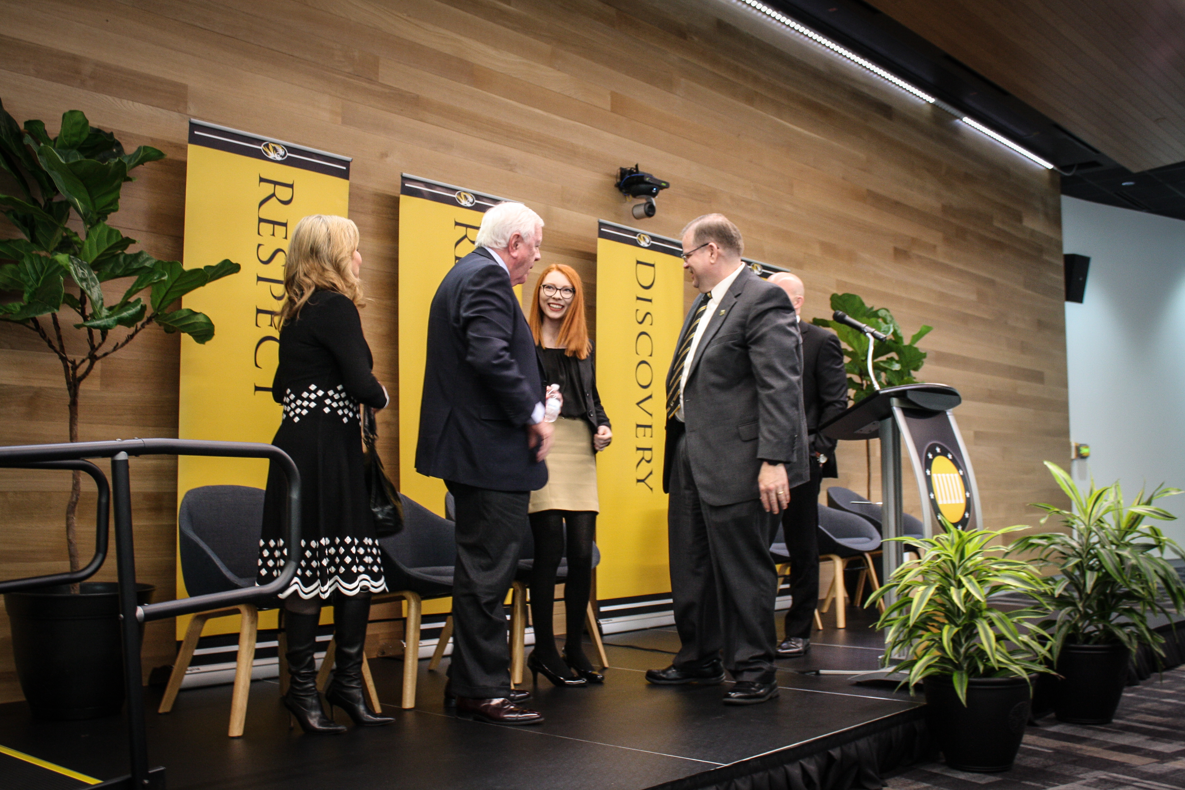 MU senior Riley Messer shared her story about how the Kinder Institute on Constitutional Democracy enhanced her undergraduate career. Messer, a native of Buckner, Missouri shared her story with Nancy and Rich Kinder and Chancellor Alexander Cartwright during the press conference announcing the $10 million gift from the Kinder Foundation.