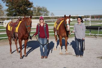 This is a picture of two students in the equine program smiling with their horses.