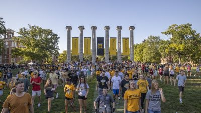 Members of the Mizzou class of 2023 participated in Tiger Walk to kick off the 2019-2020 school year. Officials announced that enrollment at Mizzou is up, with a total of 30,046 students.