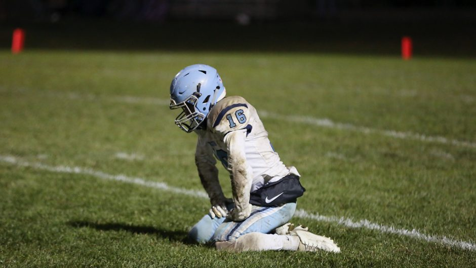 Tolton defensive back Dylan Block(cq) rests after he and a collection of Trailblazer teammates failed to recover a fourth quarter Hallsville fumble on Friday, November 1, 2019 at Hallsville. Tolton's season ended with the 41-18 district loss.
