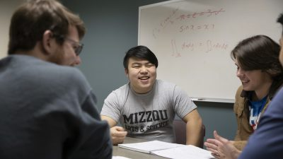 Shang Xu, a residential advisor, leads a study session to help students with calculus in Respect Hall Feb. 06, 2020. Sam O'Keefe/University of Missouri