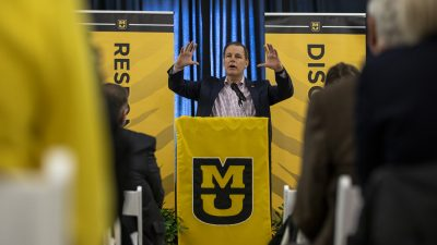 This is a picture of MU alumnus Mike Brown discussing his vision for the NextGen Precision Institute during the event where he announced a $2 million gift.