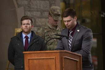 Student veterans speak at Memorial Tower on the University of Missouri Campus for a wreath-laying ceremony in honor of Veterans Day. A panel of student veterans will participate a training on Monday, March 9, to help the community better understand the issues facing veterans on campus.