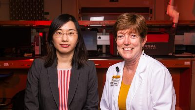 This is a photo of Drs. Crumley and Wang.