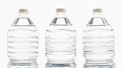 This is a picture of clear plastic water bottles
