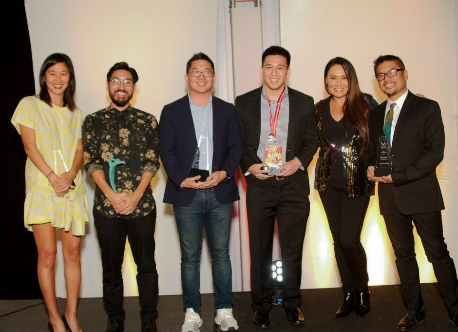 A group photo with all the award-winners at the San Diego Asian Film Festival in 2018.