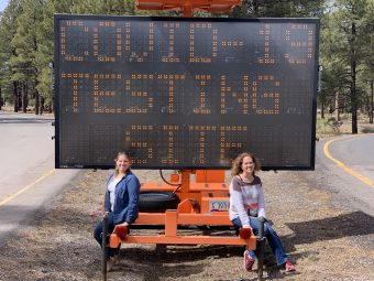 This is a photo of Hayley at a COVID-19 testing site.