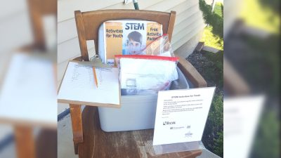 activity kits on front porch