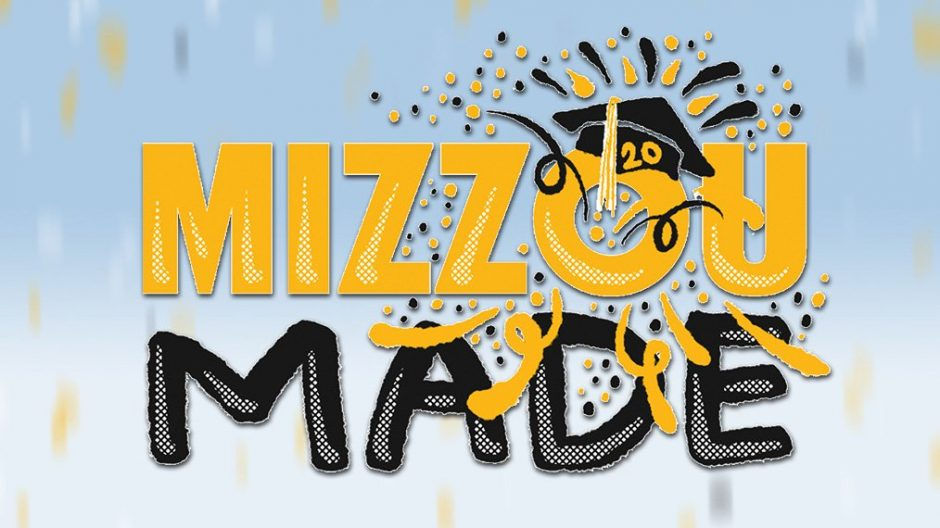 mizzou made logo with confetti background