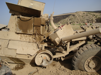 Elmer was inside this Huskey when an IED exploded under the vehicle during a convoy in the Afghanistan desert in 2009.