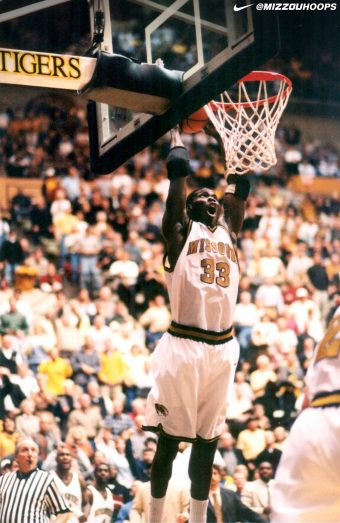"This is a picture of Tajudeen ""T.J."" Soyoye playing basketball at Mizzou"
