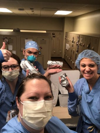 The nurses in the Edward Hospital Intensive Care Unit enjoy their burritos from Jalapeño Grill that the Freemans sent to them.