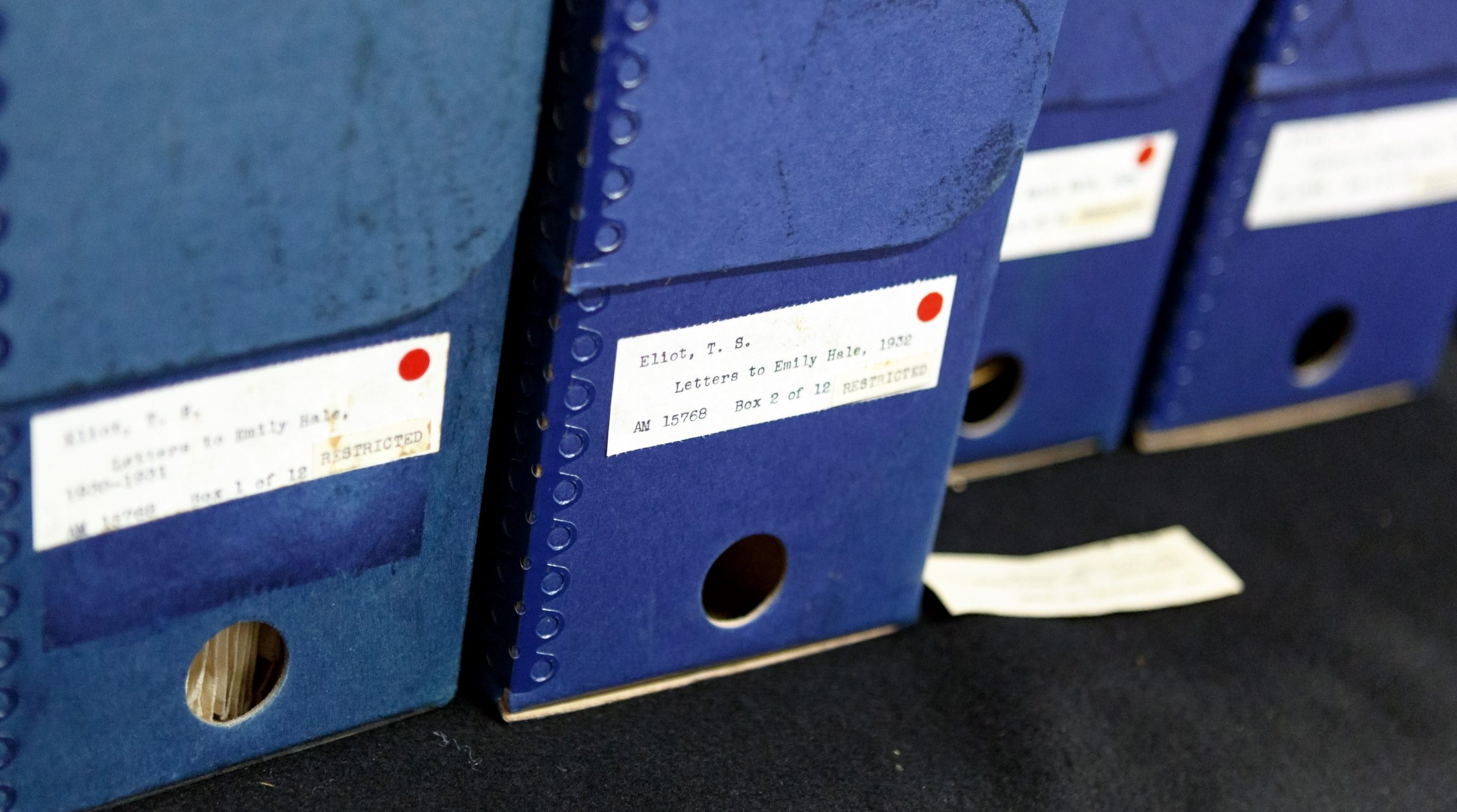 The collection of T.S. Eliot letters to Emily Hale made up 12 boxes of material. Photo by Shelley Szwast, courtesy of Princeton University Library
