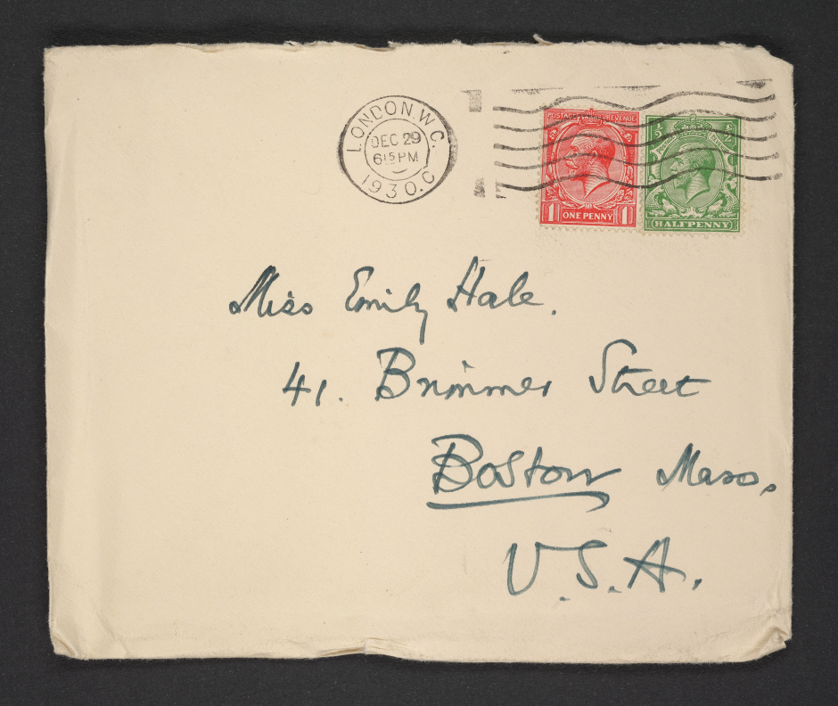 An envelope addressed to Emily Hale at 41 Brimmer Street in Boston, Massachusetts, digitized, and handwritten by T.S. Eliot. Photo by Ashley Gamarello, courtesy of Princeton University Library