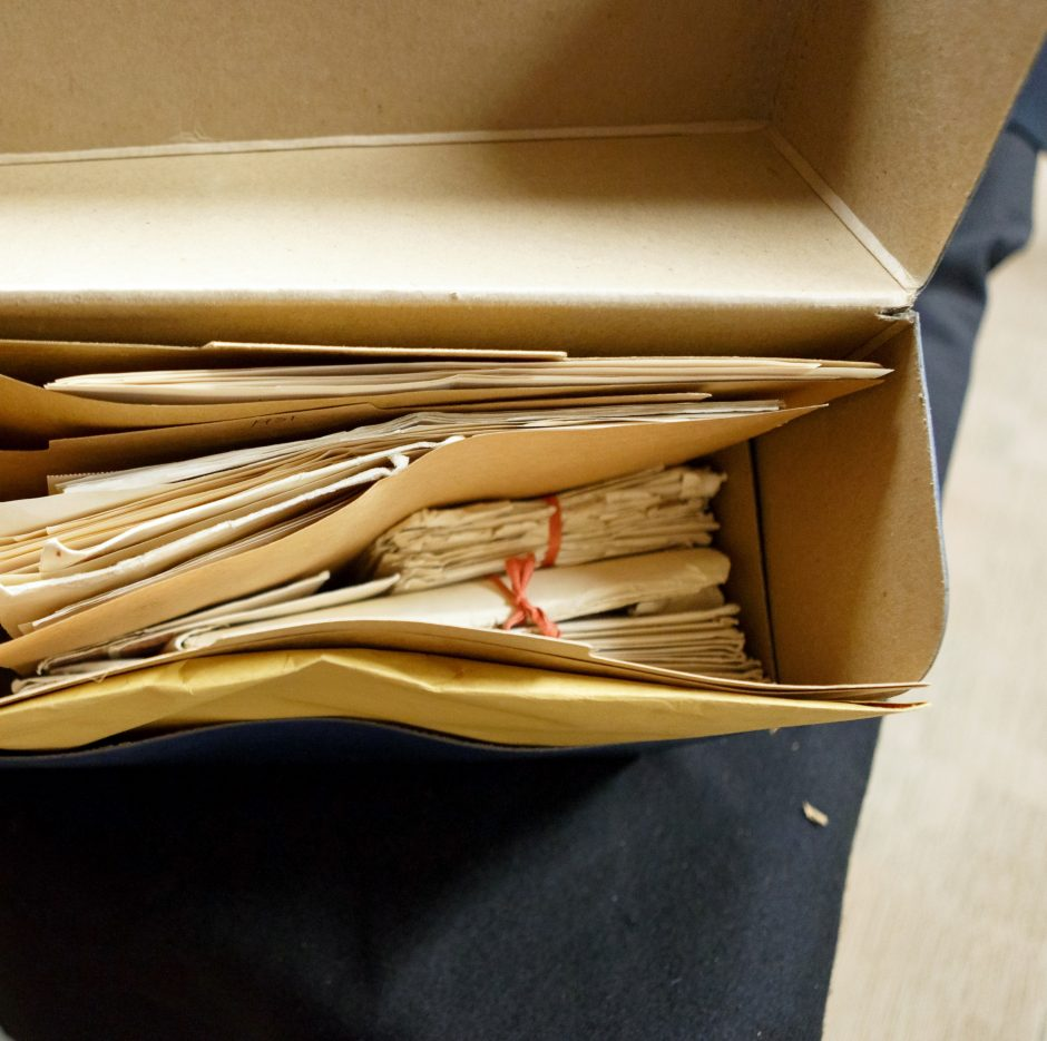 The T.S. Eliot letters to Emily Hale, unboxed. Photo by Shelley Szwast, courtesy of Princeton University Library