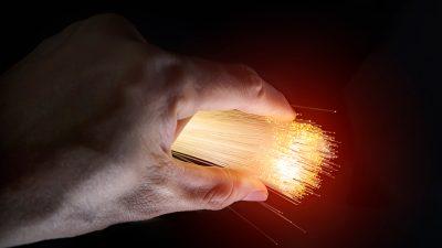 broadband fiber optics in a hand