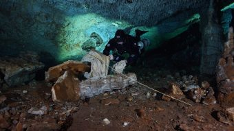 This is a picture of a diver in the underwater cave system.