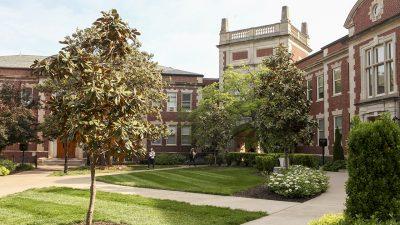 Exterior journalism exteriors: arch, Walter Williams, Ganett, Neff halls