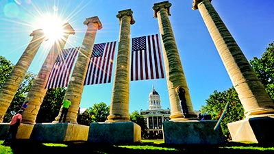 columns with flags