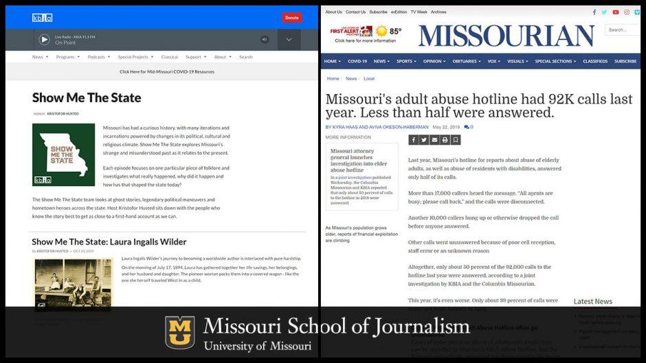 screenshot of news stories
