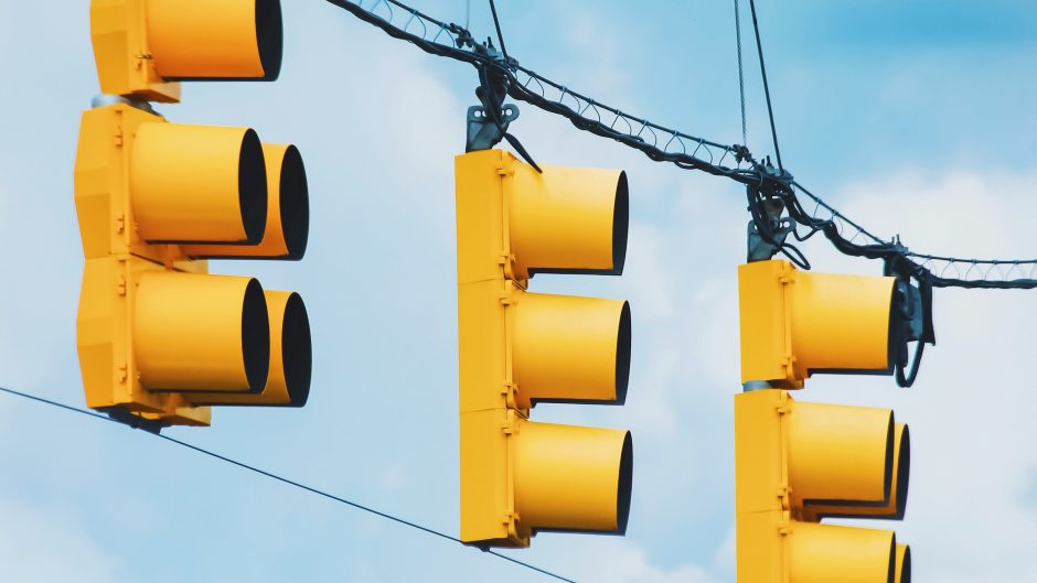 stop light with blue sky background