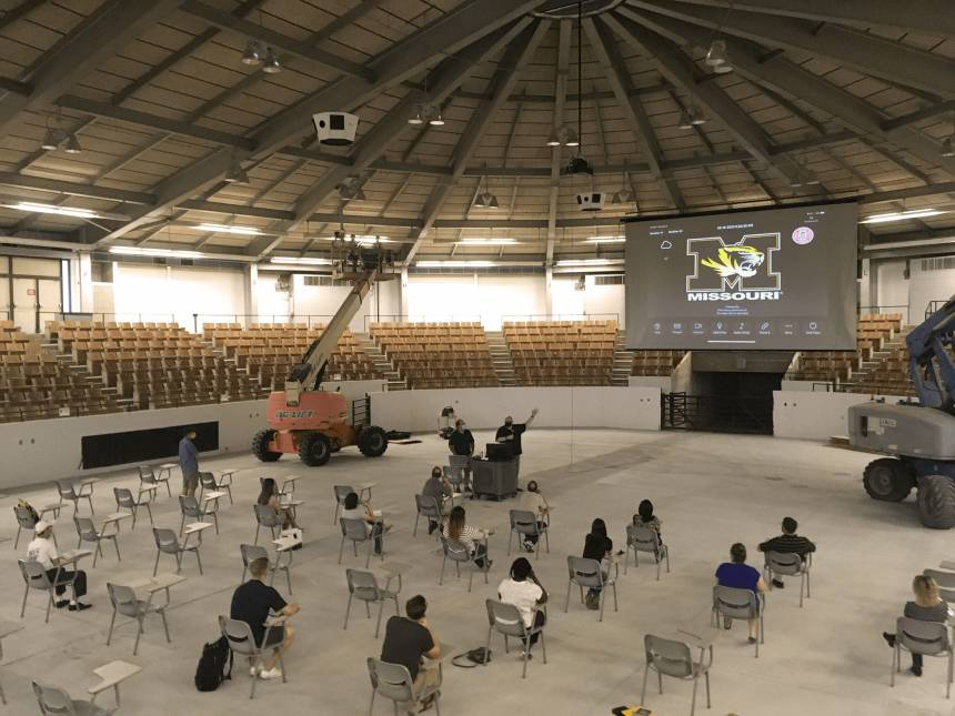trowbridge arena with students learning