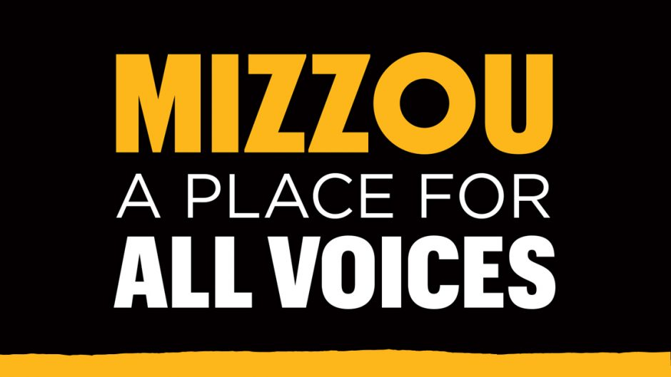 mizzou a place for all voices graphic