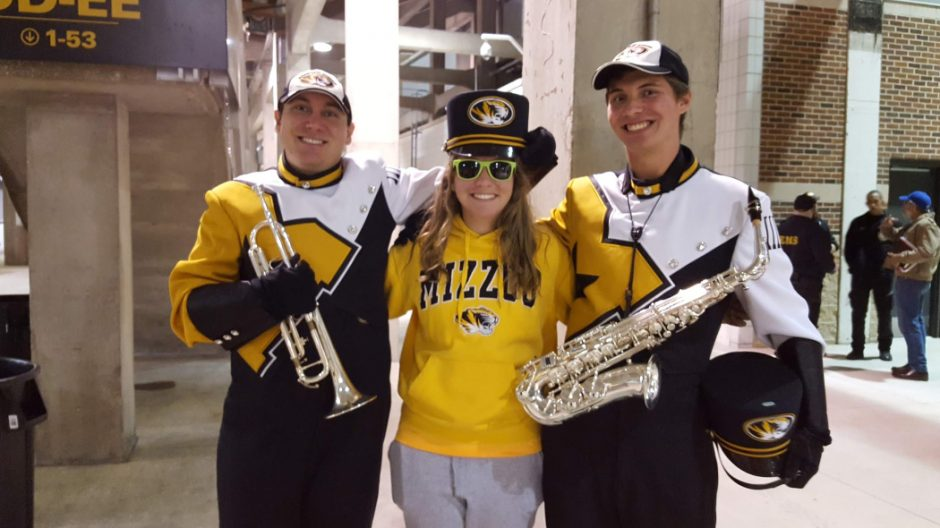 three kirkham family young adults in mizzou gear
