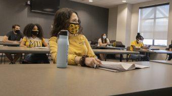 Students demonstrate social distancing on campus July 10, 2020. Julia Hansen/University of Missouri