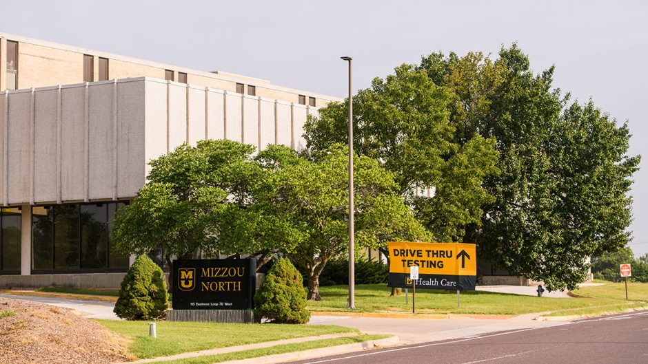 mizzou north with drive thru testing sign in front