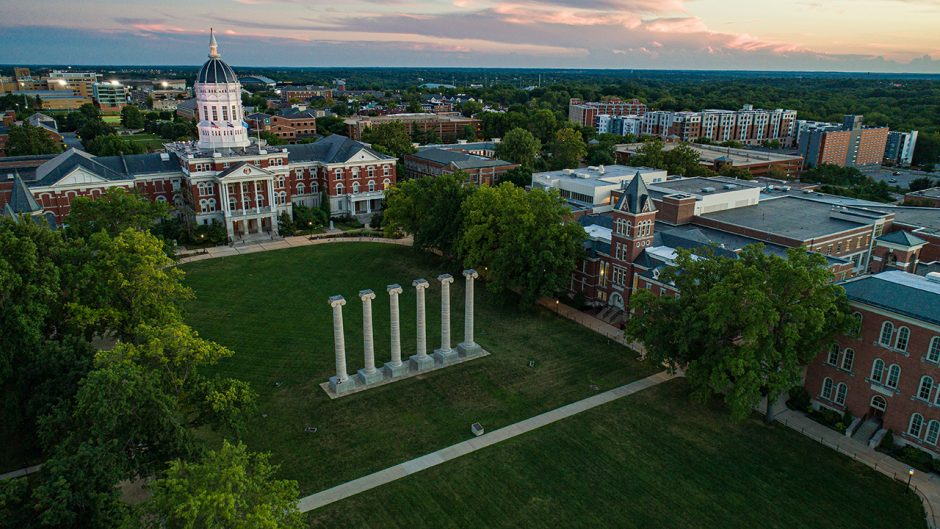 aerial shot of jesse and the columns
