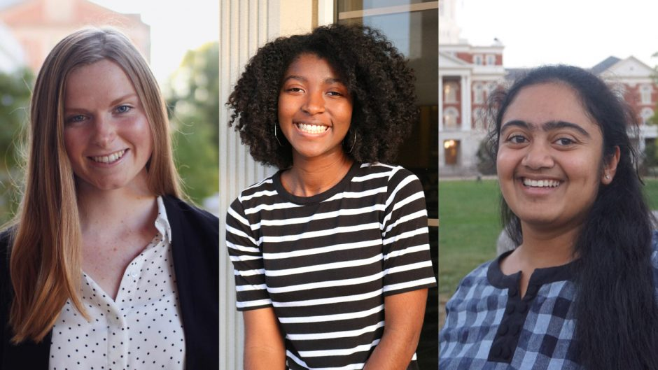 three students smiling in separate headshots
